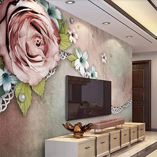 Fototapete 3D Effekt Tapete Mode Vintage Rose Spitze Vliestapete 3D Wallpaper Moderne Wanddeko Wandbilder
