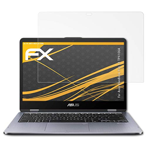 atFolix Panzerfolie kompatibel mit Asus VivoBook Flip 14 TP410UA Schutzfolie, entspiegelnde & stoßdämpfende FX Folie (2X)