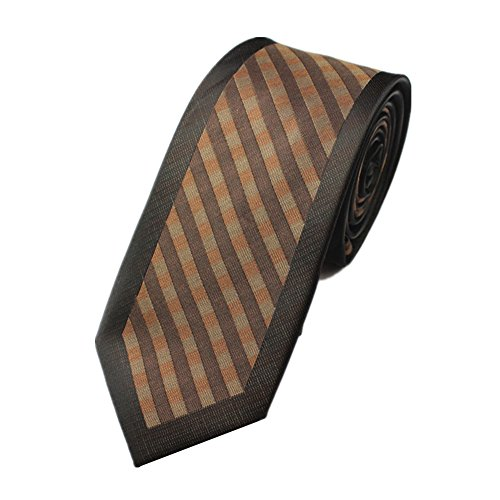 Z-P Mens Retro Brown Lattice Luxury Microfiber Necktie Knit Polyester Skinny Tie (Satin Weiß Weste Tuxedo Formale)