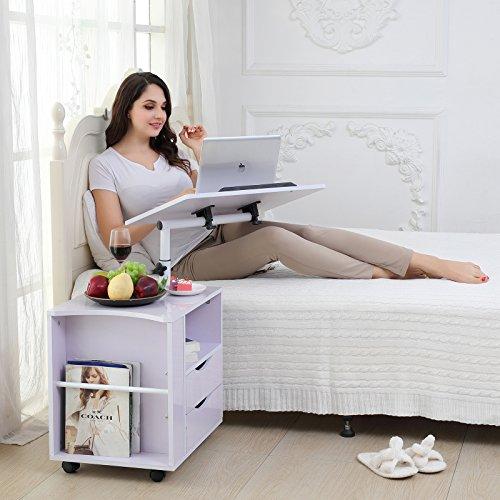 Ahorn Stahl Schreibtisch (Emall Life, Nachttisch, praktisch, verstellbar, aus Holz mit Schubladen, Rollen und einem offenen Regal  Modern weiß)