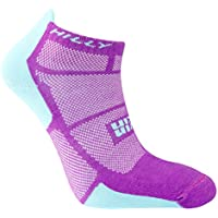 Hilly Women's Twin Skin Socklet Running Socks-White/Fluo Pink/Aquamarine, Small