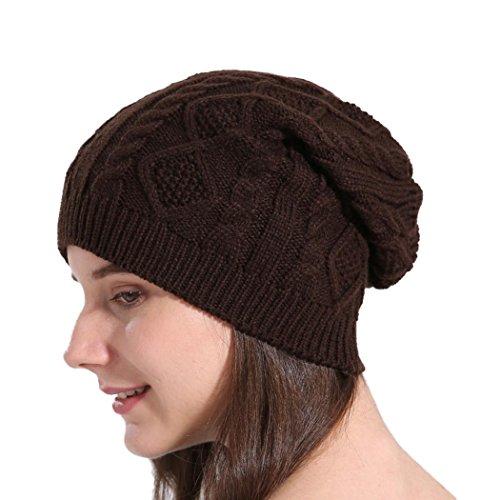 Strickmützen Damen, DoraMe Frauen Mütze Baggy Warme Winter Wolle Stricken Mützen Hüte (Kaffee)