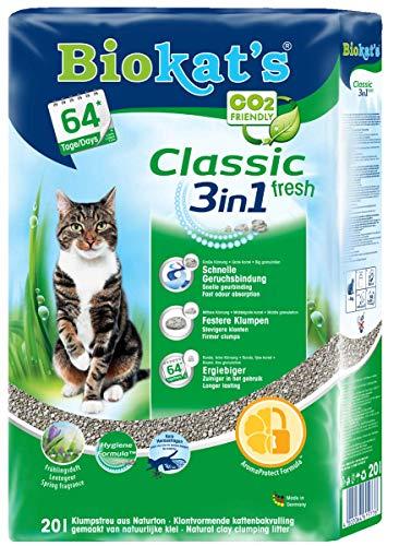 Biokat\'s Classic Fresh 3in1 Katzenstreu mit Frühlings-Duft   verschiedene Korngrößen für feste Klumpen und schnelle Geruchsbindung   1 Sack (1 x 20 L)
