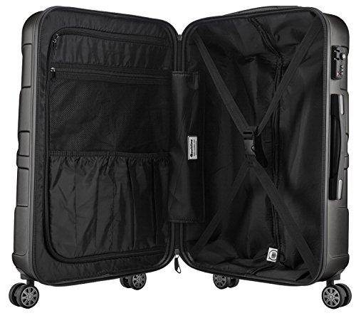 SUITLINE - Handgepäck Hartschalen-Koffer Koffer Trolley Rollkoffer Reisekoffer, TSA, 56 cm, 35 Liter, Graphite -
