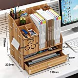 QFFL zhuomianshujia Desktop-Aufbewahrungsbox Multifunktions-Büro-Regal Bürobedarf Aktenregal aus Holz (4 Farben, 3 Stile) Bücherregale (Farbe : Kirschholz, größe : 33×23.5×35.8cm)