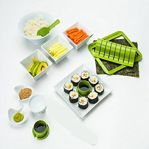 Eever home decor regalo ideale sushi maker kit, kit di plastica sushi set di strumenti torta di riso roll mold sushi multifunzionale suit mold (verde)