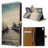 jbTec® Flip Case Handy-Hülle zu Sony Xperia M4 Aqua / E2303 - BOOK MOTIV #04 - Handy-Tasche, Schutz-Hülle, Cover, Handyhülle, Bookstyle, Booklet, Motiv / Muster:Brücke P21