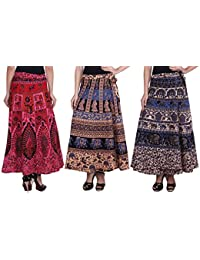 Attire Fashion Women's Traditional And Jaipuri Print Cotton Wrap-around Skirt Combo Pack of 3 pec.