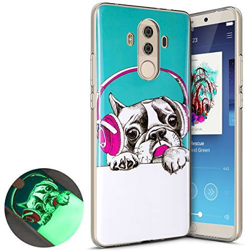 Coque Huawei Mate 10 Pro,Surakey Nuit Luminous Effet Fluorescent TPU Housse Silicone Transparent Coque Souple Housse Étui Protection TPU Case Cover pour Huawei Mate 10 Pro (Chien)