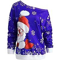 Cebbay Moda Mujer Feliz Navidad Santa Claus Impresión Camiseta de Manga Larga para Mujer Santa Claus Inclinado Cuello Impresa Sudadera