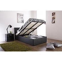 Storage Bed Faux Leather 3ft Standard Single Ottoman Prado Black