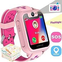 the perseids Reloj inteligente para niños con rastreador GPS, reloj de pulsera para niños de 3 a 14 años, pantalla táctil, control remoto de cámara, botón SOS antipérdida, juguetes fríos, regalos para niños, Android iOS