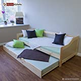 Homestyle4u Kinderbett Funktionsbett Jugendbett Ausziehbett 90x200 natur Kojenbett Gästebett