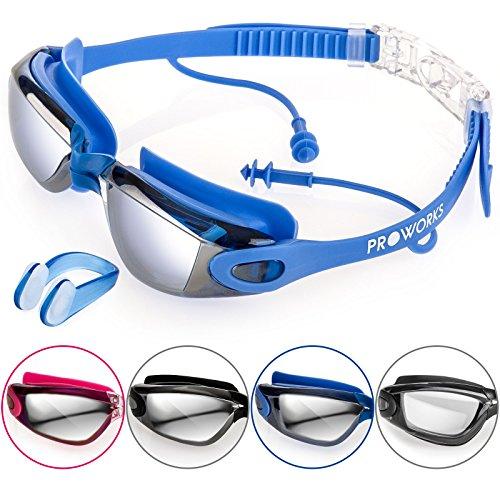 Proworks Taucherbrille mit 100% UV Schutz [Wasserdicht] Schwimmbrille mit Sehstärke und eingearbeiteten Ohrstöpsel für Tauchen, Schwimmen & Schnorcheln – inkl. Nasenklammer & Tasche - Blau