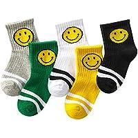 Chickwin Calcetines para Niños, Pack de 5 Pares de Antideslizante Calcetines para Niños algodón Rico (9 a12 años de Edad de pie: 21-22 cm)