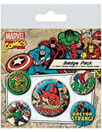 Spider-Man Badge Pack - Marvel Retro, 1 X 38mm & 4 X 25mm Badges (6 x 4 inches)