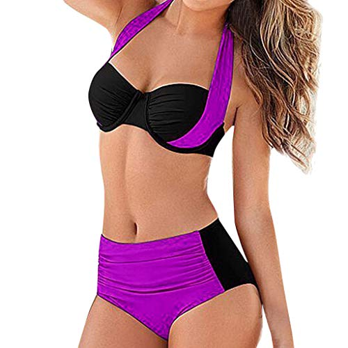 Gepolsterte Bande (Amcool 2019 Bikini Damen Set Retro Halter Push Up Bikini Oberteil Bademode Zweiteilige Neckholder Bikini High Waist Bikinihose Split Badeanzug Strandkleidung)