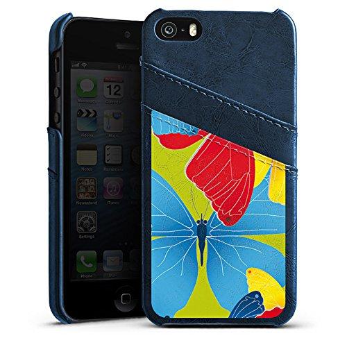 Apple iPhone 5s Housse Étui Protection Coque Papillons couleurs Motif Étui en cuir bleu marine