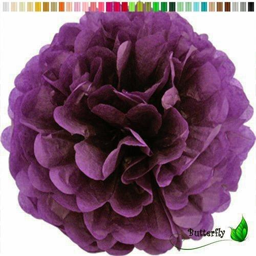 Pompon 20cm (Pflaume 285) // Pompom Bommel Papier Kugel Seidenpapier Pompon Blumen Deko Hängedeko Raumdeko ()