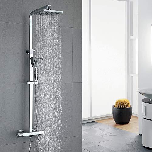 HOMELODY Duschsystem mit Thermostat Regendusche eckig Duscharmatur Duschset Dusche inkl. Handbrause, Regenbrause, Duschstange chrom