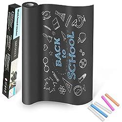 TTMOW Vinilo Lámina de Pizarra Negra Flexible Adhesivo Removible para Escribir y Borrar (incluye 5 tizas), 45 x 200 cm, Color Negro