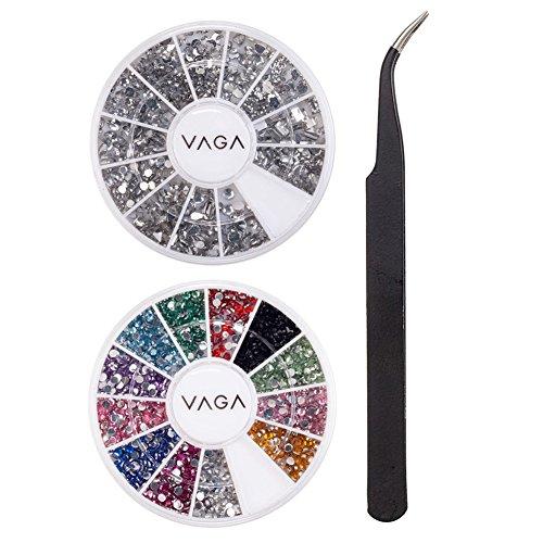 fessionelles Nail Art Set Kit Mit Paket Silber Edelsteine Strass Kristalle, 12 Farben Rad Premium Juwelen Strasssteine Und Nailart Pinzette Schwarz Von VAGA® (Nagel Glitter Und Juwelen)