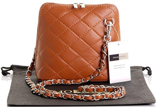 Borsa di cuoio italiano Design classico diamante forma borsa tracolla imbottita, con catena in metallo e cuoio, maniglie / tracolla include una custodia protettiva marca Mini Tan