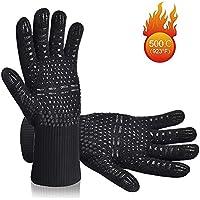 Karrong Grillhandschuhe Hitzebeständig Ofenhandschuhe, BBQ Handschuhe Hitzebeständig bis zu 500℃ / 932℉ mit EN407 Zertifizierte für BBQ, Grill, Kochen, Backen, Schweißen, Schwarz(1 Paar)