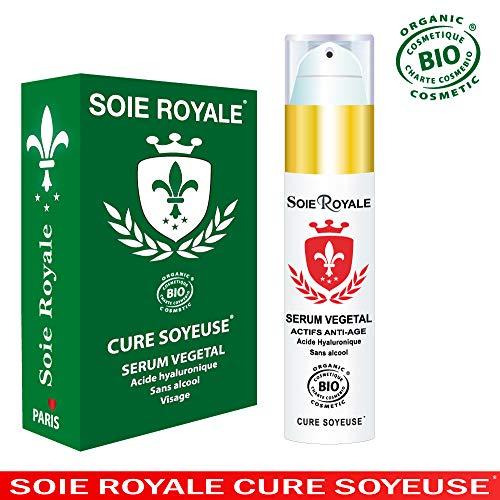 Sérum Végétal Soie Royale BIO Cure Soyeuse Acide Hyaluronique Vitamines C-E-F Régénérant Cellulaire 99% Actifs Anti-rides Anti-âge Antioxydant Rajeunissant Hydratation Visage Made in France.