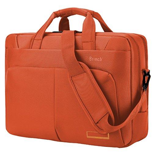 Laptop Tasche, BRINCH 17,3 Zoll Nylon Stil geräumig Multi-Fach Laptop Schultertasche Messenger Bag Handtasche Tablet Aktentasche Umhängetasche für 17 - 17,3 Zoll Laptop / Notebook / Macbook / Tablet Computers,Orange (Orange-laptop-tasche)