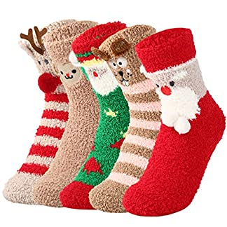 VBIGER 1-5 pares Calcetines de Invierno Calientes Calcetines Lindos De Navidad para Mujer y Bebé