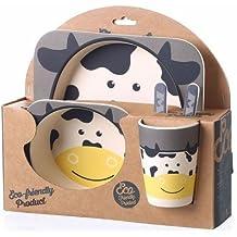 Xing Lin Juego De Vajillas Infantil Fibra De Bambú Vajilla Infantil Traje Serie Animal Bebé Tenedor Spoon Taza Plato Super Luminoso,Vaca