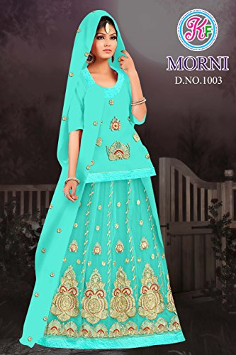 KRISHNA FASHION Women's Chiffon Half Pure Rajputi Poshak, Free Size (Sea Green, 1003)