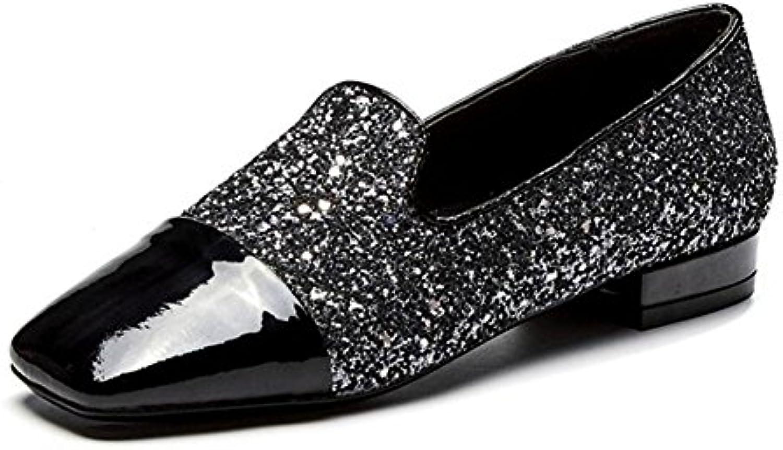 KUKI Couture de paillettes de cristal de argenté avec des chaussures simples de cristal femmes décolletées Shallow mouth...B0792SZ6H3Parent 9c9e5c