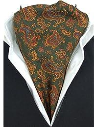 Baroque Ancient Paisley on Dark Green Fine Silk Cravat