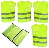 4 Stück Warnwesten Auto Pannenweste Warnweste Neon Gelb Knitterfrei| Waschbar |360 Grad Reflektierende Sicherheitsweste KFZ EN471 Prowiste