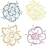 Blume Schablone–wiederverwendbar Groß Fancy Blumen Wandbild Wand Schablone–Vorlage, auf Papier Projekte Scrapbook Tagebuch Wände Böden Stoff Möbel Glas Holz etc, L