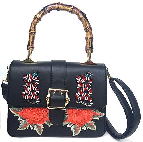 Bonito Damen Umhängetasche, Umhängetasche, Umhängetasche, Mädchen, Kette, Handtasche, (schwarz/rot), Medium