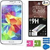 Samsung Galaxy S5 Screen Protector [Set of 2] - Ballistic Tempered Glass - Maximum Impact Protection - 99.99% Crystal Clear HD Glass - No Bubbles - Cell Phone DIY® Protectors Kit for Samsung Galaxy S5