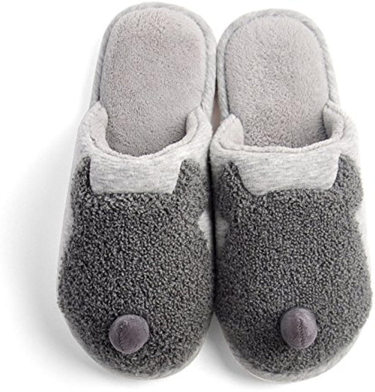 YMFIE Cubierta de invierno inicio suave deslizamiento inferior zapatillas de algodón zapatos regalos de Navidad... -