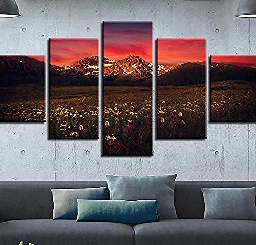 Vista notturna di Red Sky Hills 5 pezzi-(W)100x(H)55cm