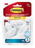 #5: Command BATH18-6ES Medium Bath Hooks, Value Pack, 6-Hooks, 6-Medium Water-Resistant Strips