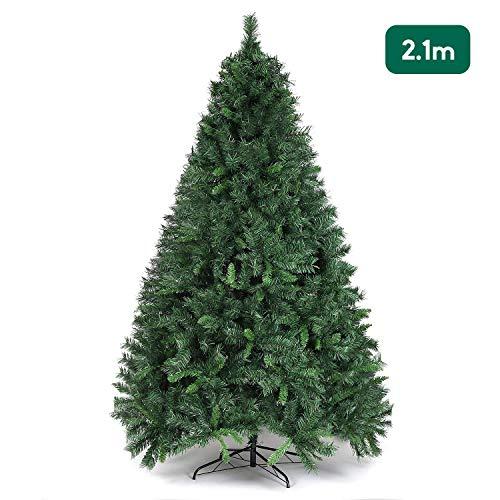 SALCAR Weihnachtsbaum künstlich 210 cm mit 868 Spitzen, Tannenbaum künstlich regenschirmsystem inkl. Christbaum-Ständer, Weihnachtsdeko - grün 2,1 m