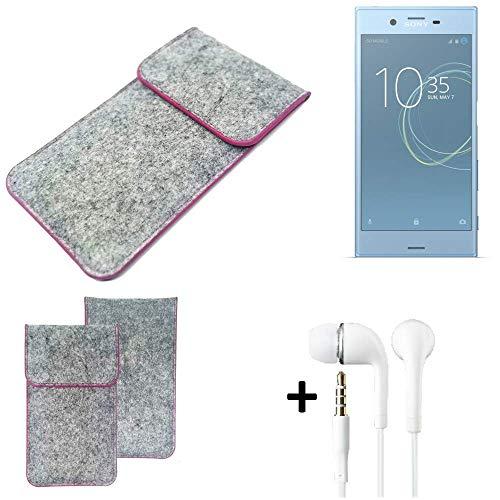 K-S-Trade® Filz Schutz Hülle Für -Sony Xperia XZs Dual SIM- Schutzhülle Filztasche Pouch Tasche Case Sleeve Handyhülle Filzhülle Hellgrau Pinker Rand + Kopfhörer