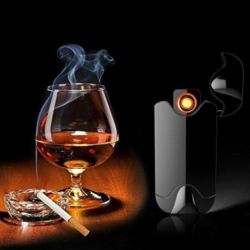 Elektronisches Feuerzeug von Outry, lichtbogenes Feuerzeug mit USB umweltfreundlich, windfest, elegant und schnell wieder aufladbar (Schwarz)