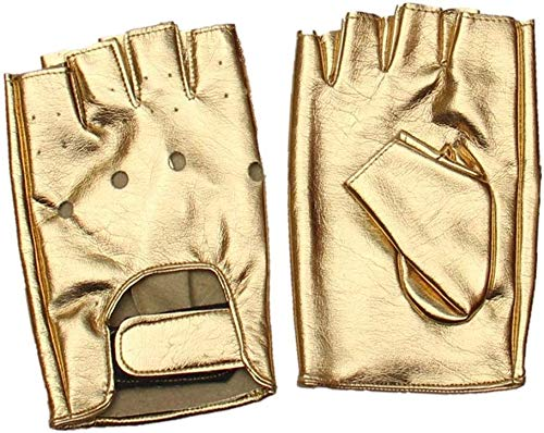 NMDD Herrenhandschuhe Half Finger Bandage Street Dance Punk Performance Handschuhe Arbeitshandschuhe (Farbe: Gold, Größe: Einheitsgröße)