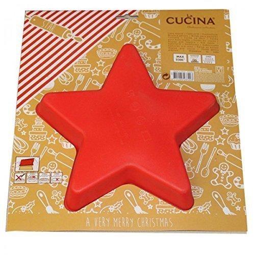 Backform Kuchenform STERN Silikon braun rot Napfkuchen Backen Küche Weihnachten, Farbe:Rot
