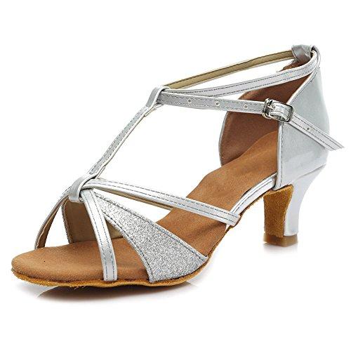 SWDZM Damen Ausgestelltes Tanzschuhe/Standard Latin Dance Schuhe Satin Ballsaal Modell-D255-5 Silber EU39