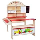Infantastic - Marchande en bois pour enfants (avec comptoir, tiroirs et surfaces de rangement) - env. 95/117/70,5 cm