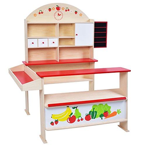 Infantastic Verkaufsstand für Kinder mit Theke, Schubladen und Ablageflächen, Kinderspielzeug mit Verkaufstafel zum Schreiben